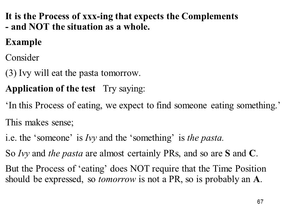 It is the Process of xxx-ing that expects the Complements