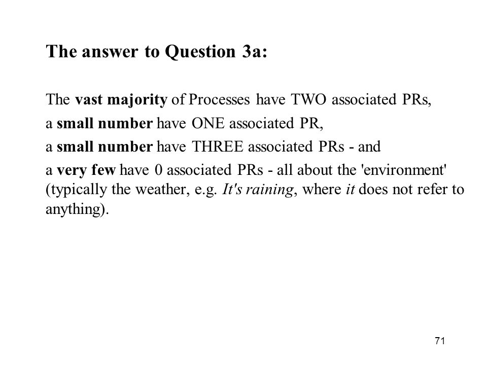 The answer to Question 3a: