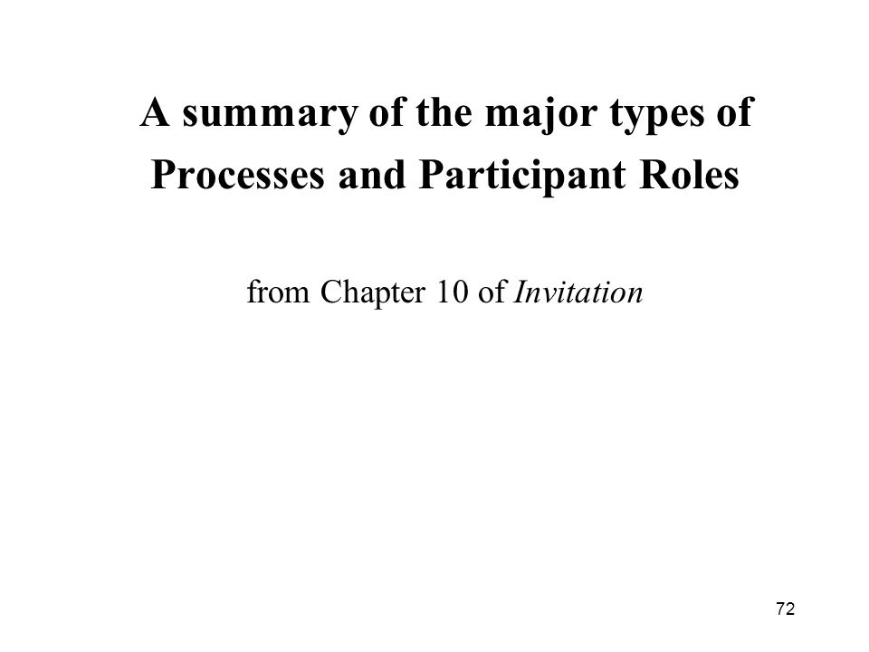 A summary of the major types of Processes and Participant Roles