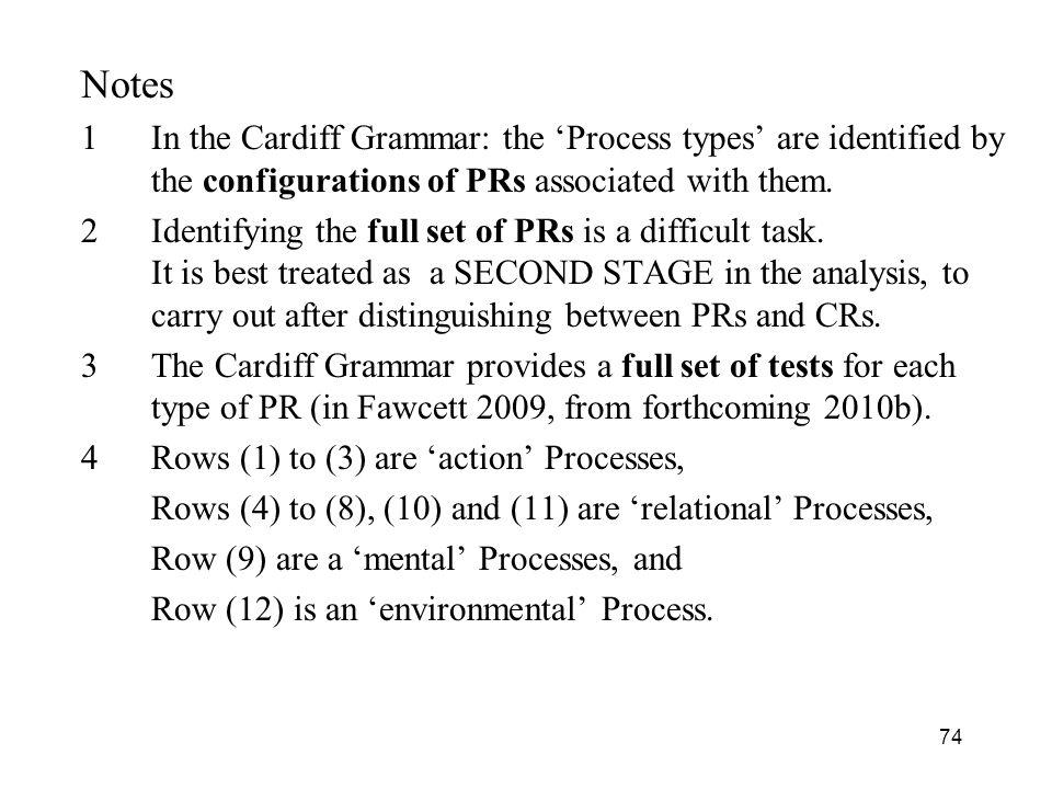 Notes In the Cardiff Grammar: the 'Process types' are identified by the configurations of PRs associated with them.