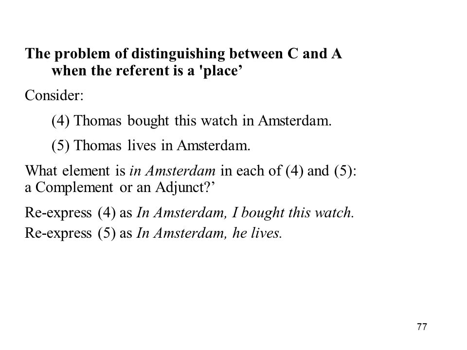 The problem of distinguishing between C and A
