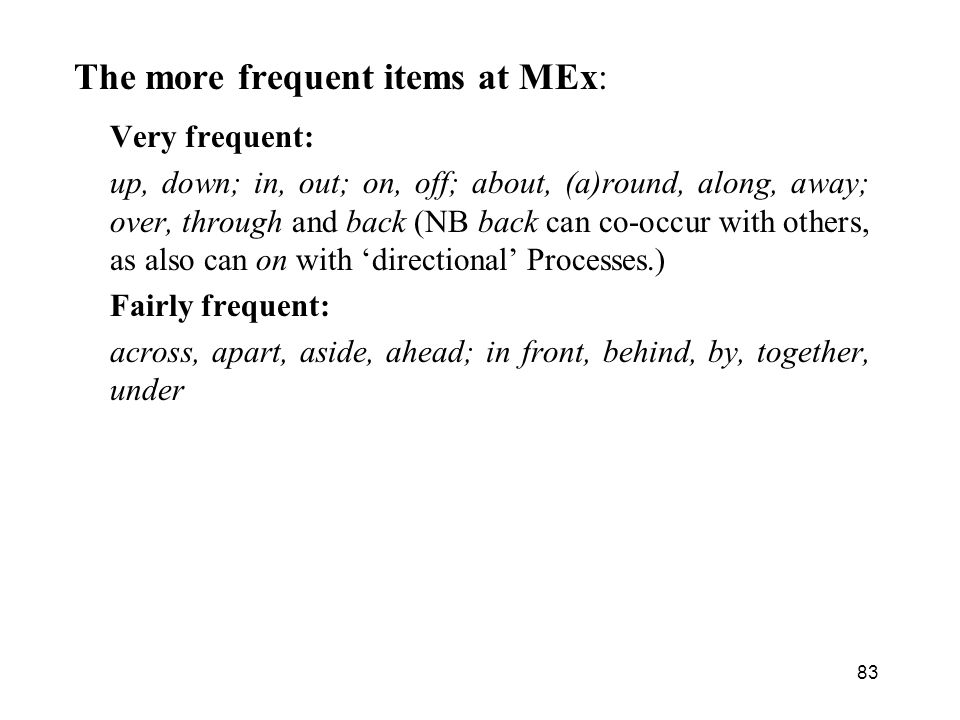 The more frequent items at MEx: