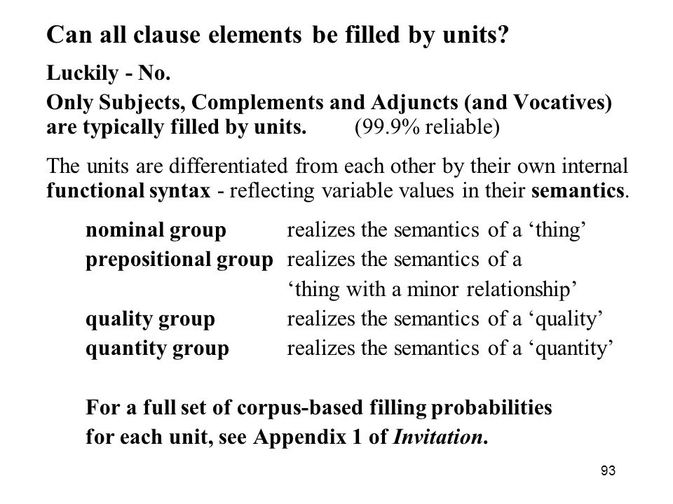 Can all clause elements be filled by units