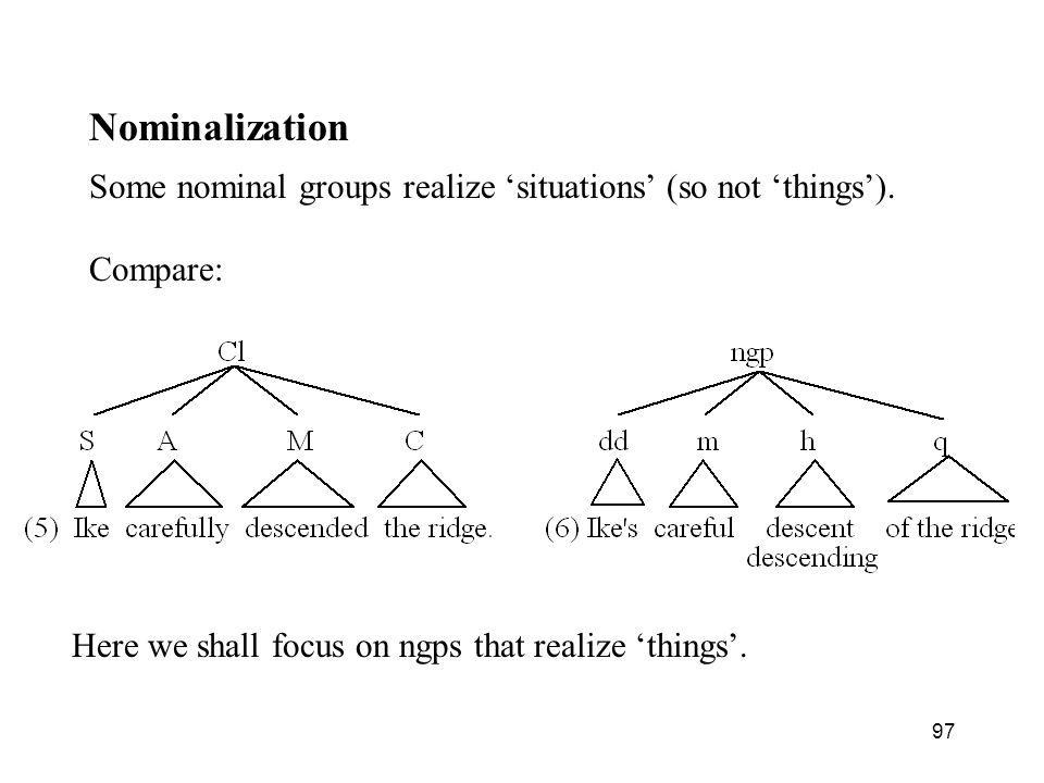 Nominalization Some nominal groups realize 'situations' (so not 'things').