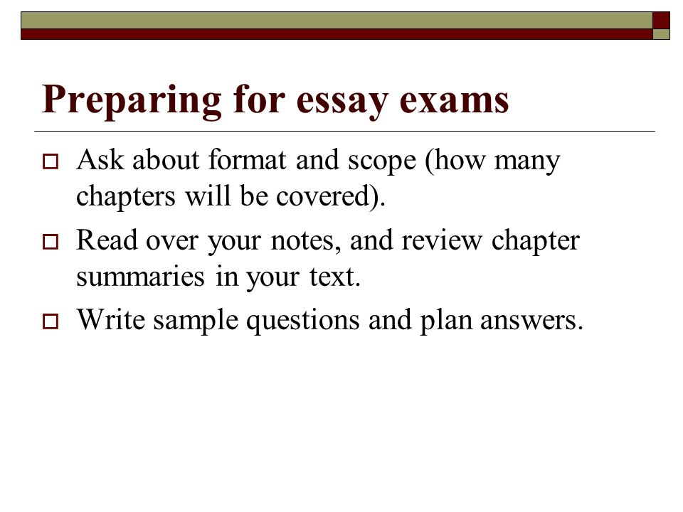 prepare examination essay Should you assign essay questions on your exams poorly during an exam instructions can prepare students for what they are carnegie mellon university.