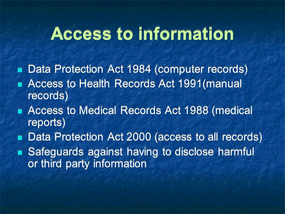 Access to information Data Protection Act 1984 (computer records)