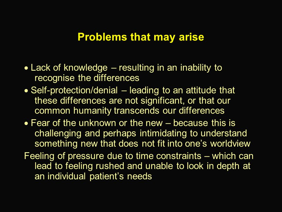 Problems that may arise