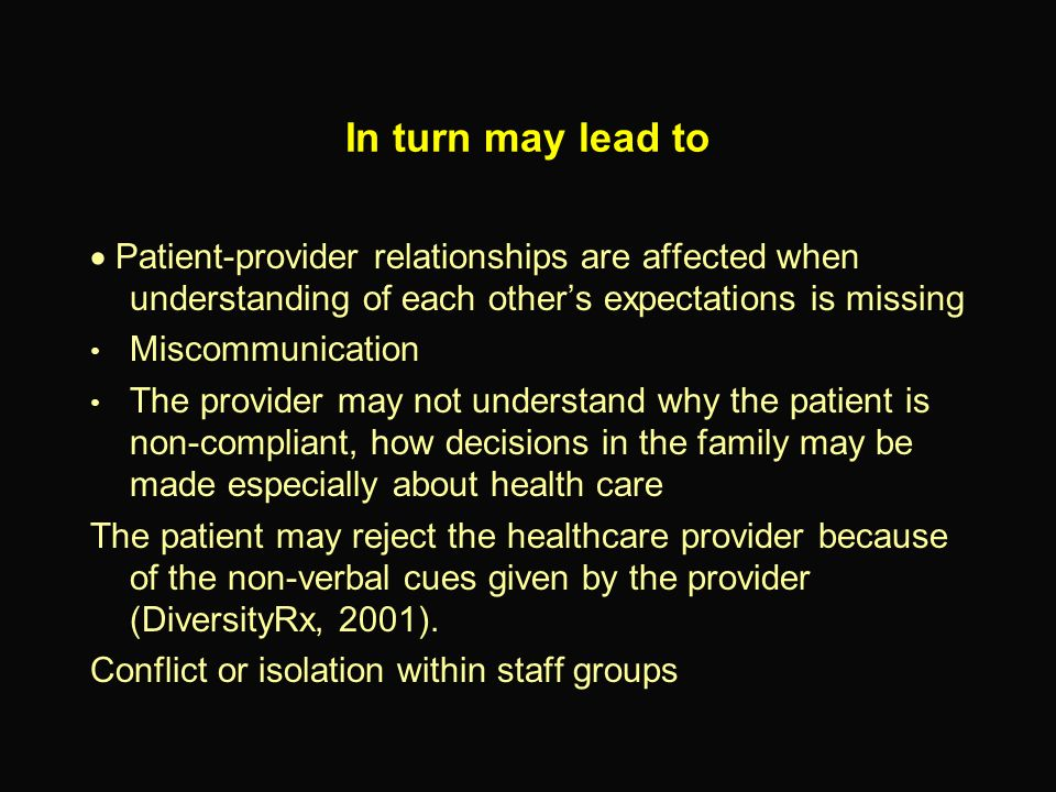 In turn may lead to · Patient-provider relationships are affected when understanding of each other's expectations is missing.