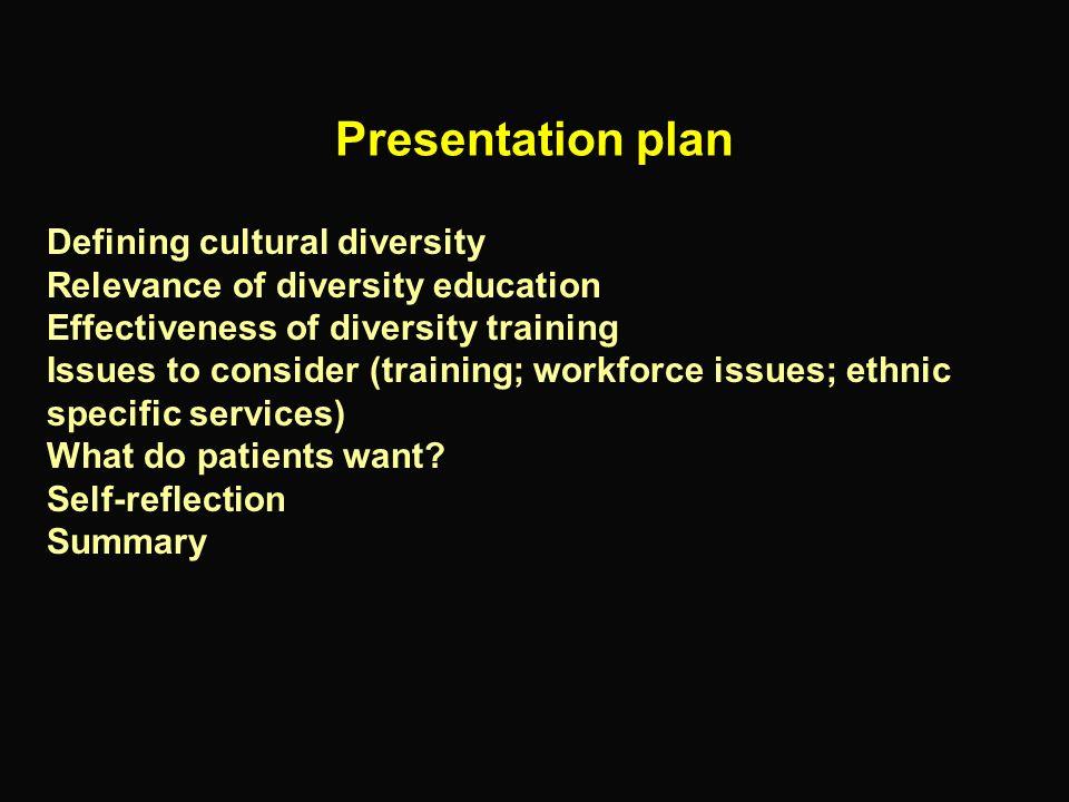 Presentation plan Defining cultural diversity