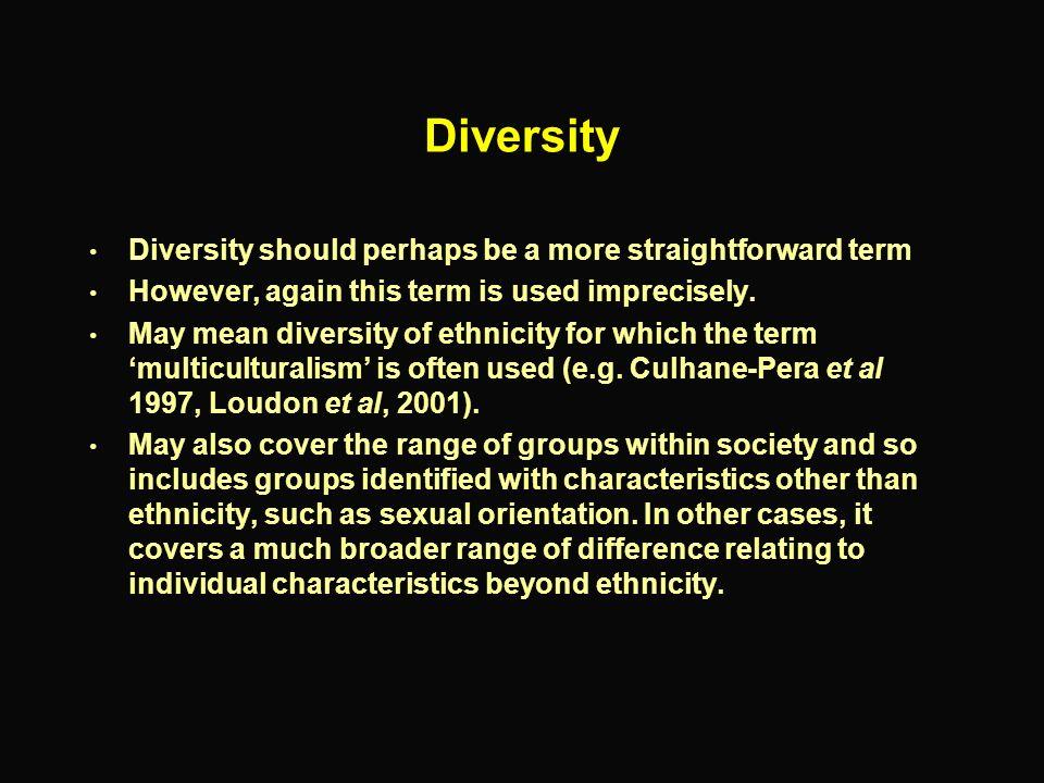 Diversity Diversity should perhaps be a more straightforward term