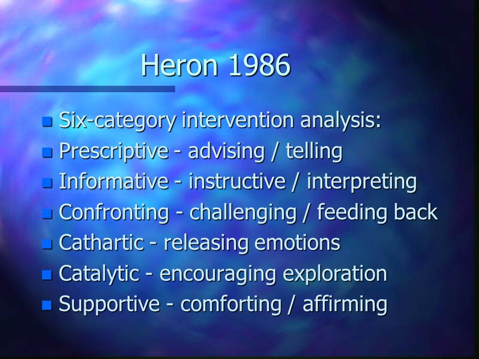 Heron 1986 Six-category intervention analysis: