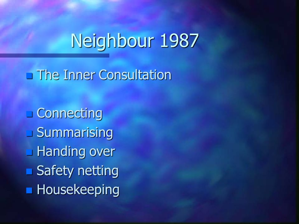 Neighbour 1987 The Inner Consultation Connecting Summarising
