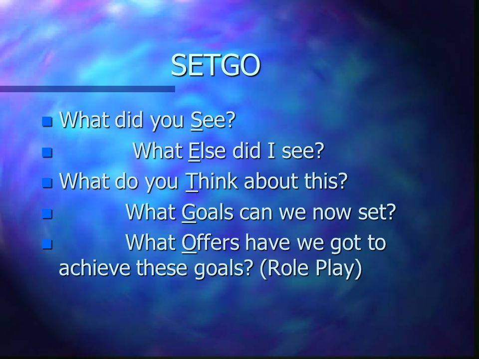 SETGO What did you See What Else did I see