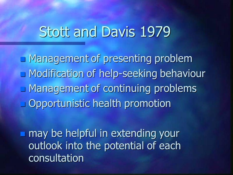 Stott and Davis 1979 Management of presenting problem