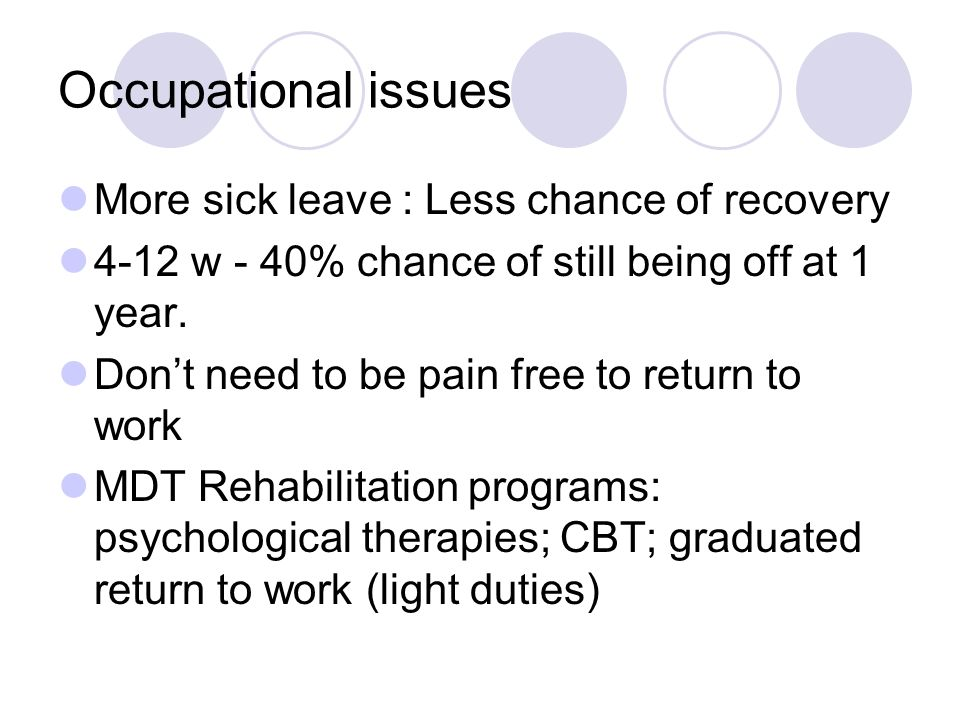 Occupational issues More sick leave : Less chance of recovery