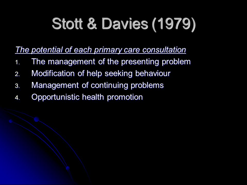 Stott & Davies (1979) The potential of each primary care consultation