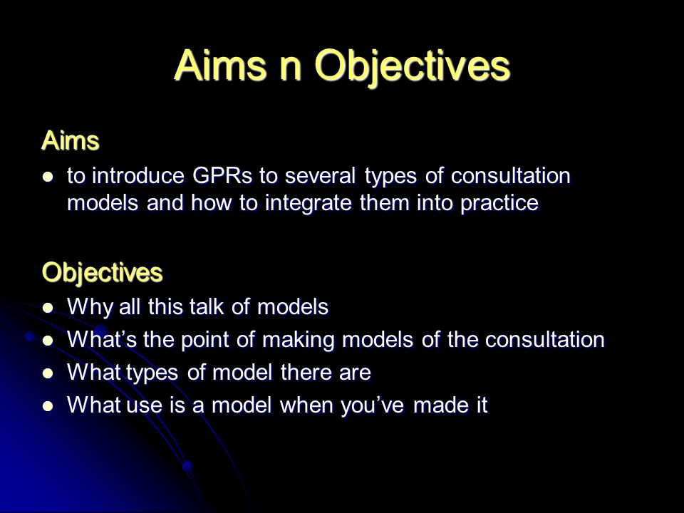 Aims n Objectives Aims Objectives