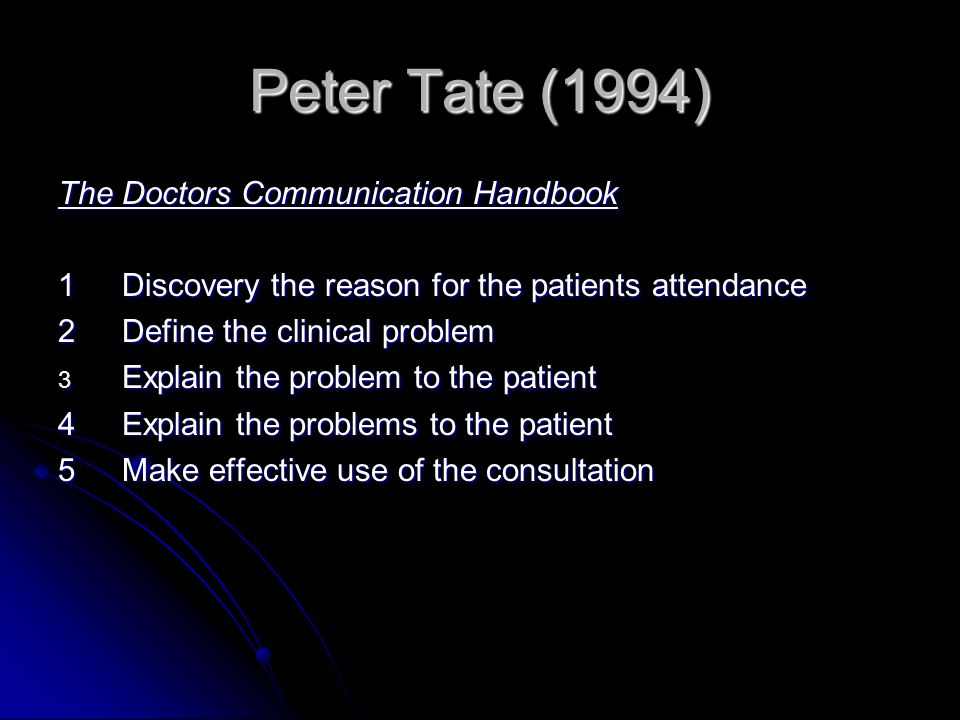 Peter Tate (1994) The Doctors Communication Handbook