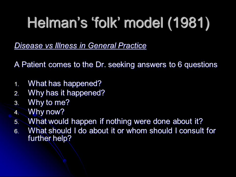 Helman's 'folk' model (1981)