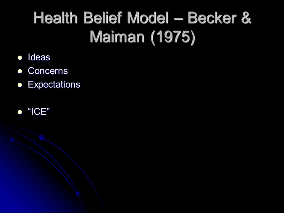 Health Belief Model – Becker & Maiman (1975)