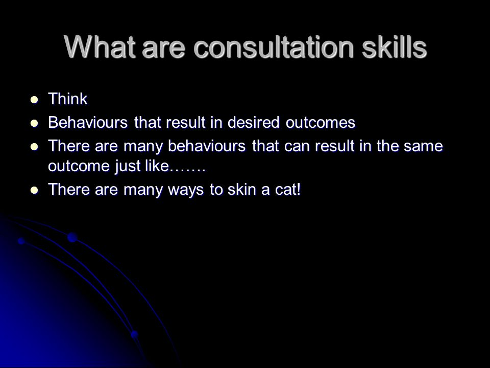 What are consultation skills