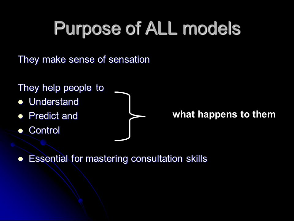 Purpose of ALL models They make sense of sensation They help people to