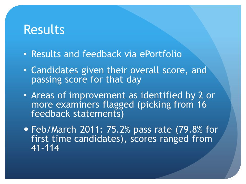 Results Results and feedback via ePortfolio