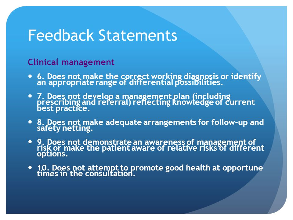 Feedback Statements Clinical management