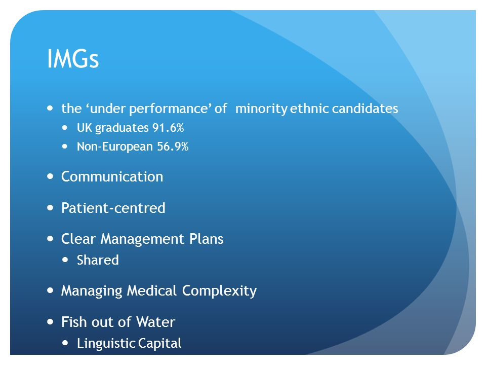 IMGs Communication Patient-centred Clear Management Plans
