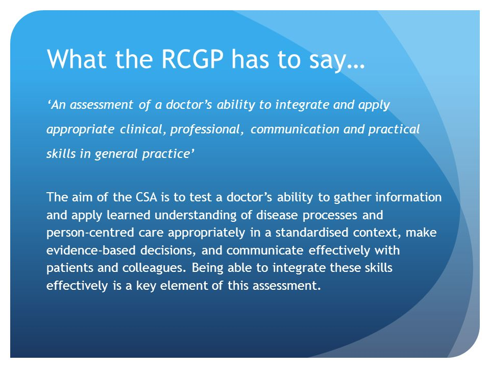 What the RCGP has to say…