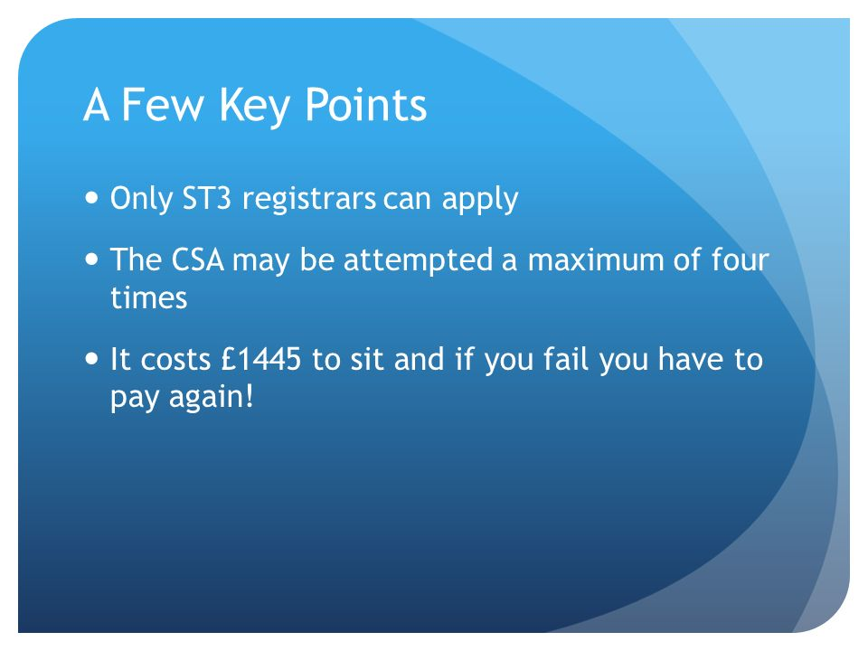 A Few Key Points Only ST3 registrars can apply