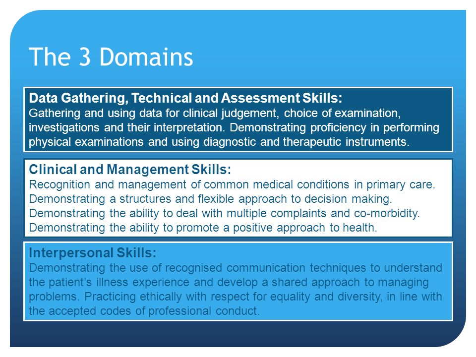 The 3 Domains Data Gathering, Technical and Assessment Skills: