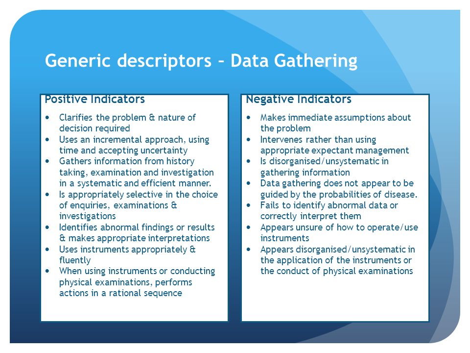 Generic descriptors – Data Gathering