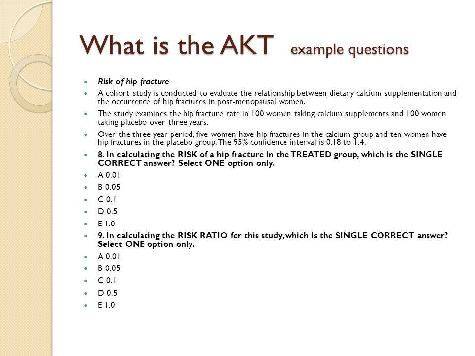 What is the AKT example questions