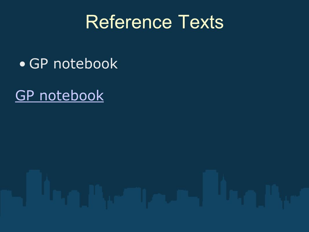 Reference Texts GP notebook