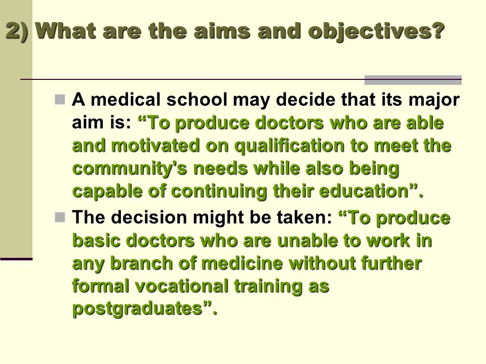 2) What are the aims and objectives