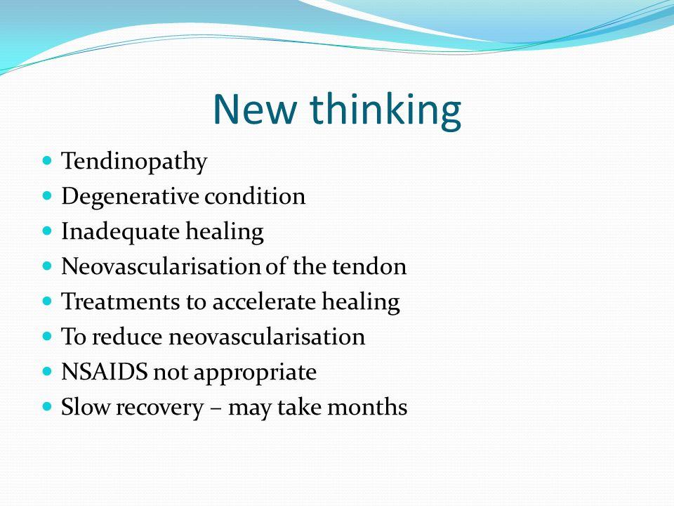 New thinking Tendinopathy Degenerative condition Inadequate healing