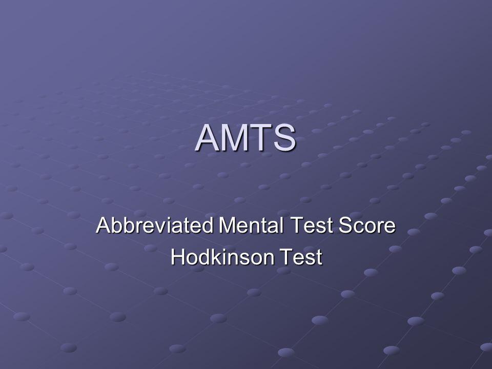Abbreviated Mental Test Score Hodkinson Test