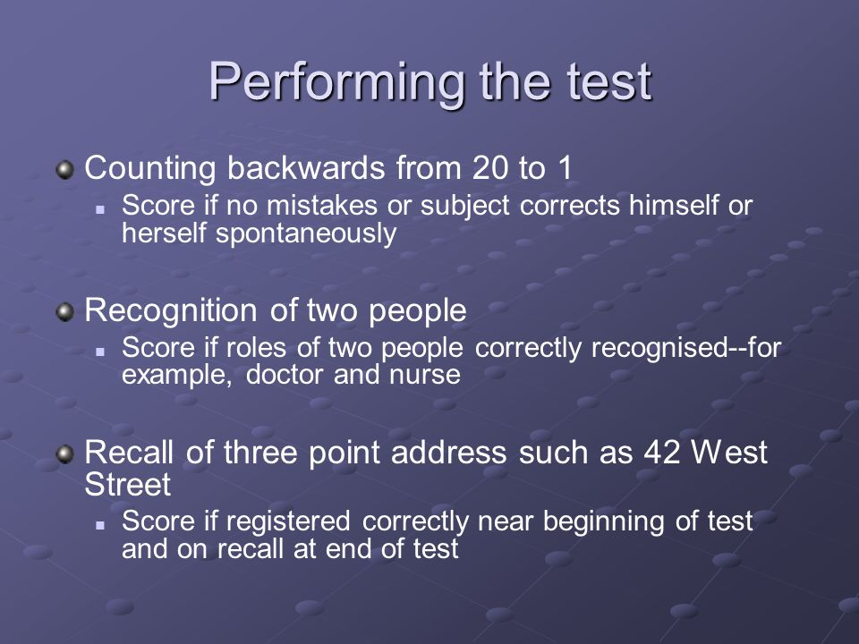 Performing the test Counting backwards from 20 to 1