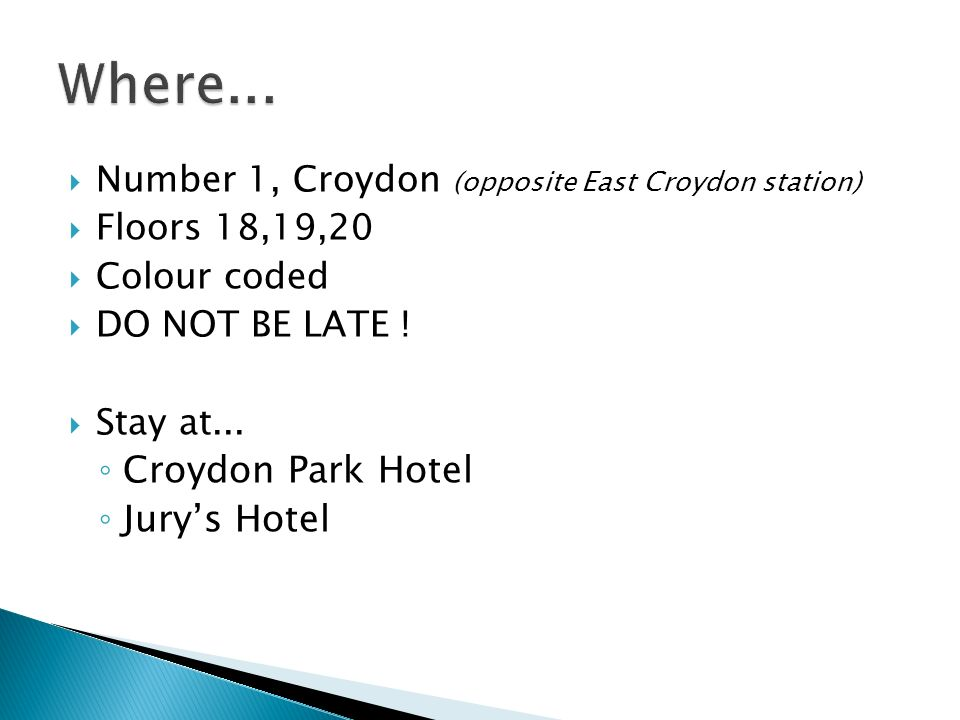 Where... Croydon Park Hotel Jury's Hotel