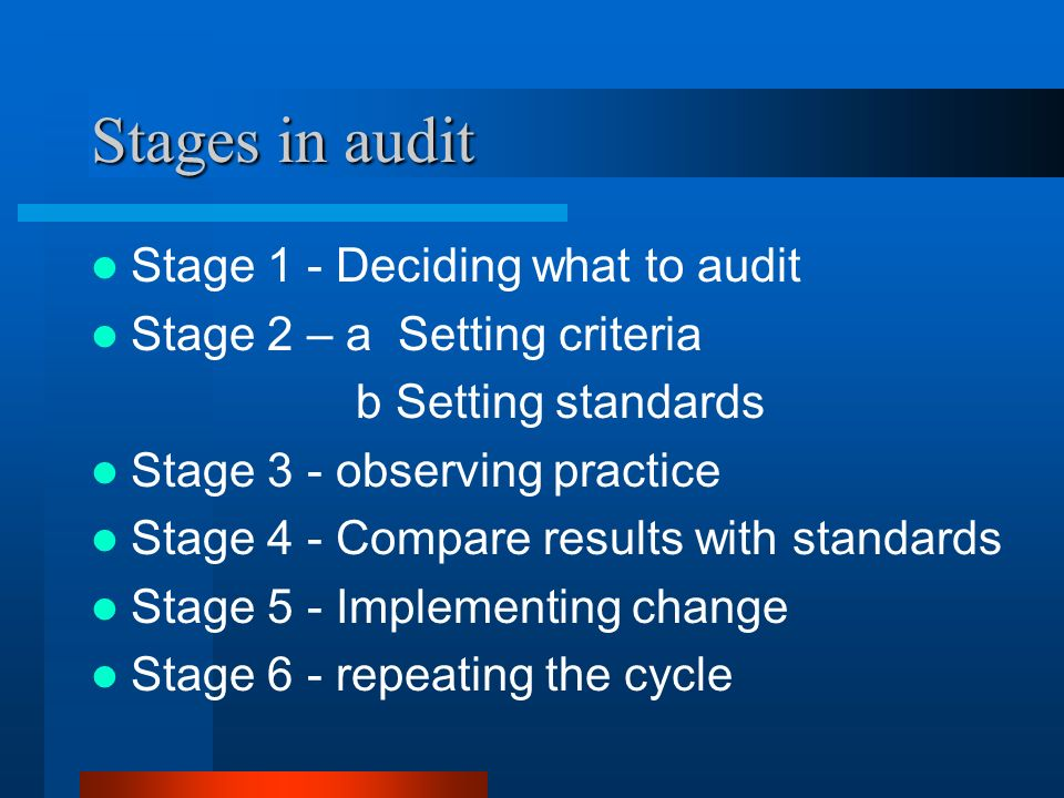 Stages in audit Stage 1 - Deciding what to audit