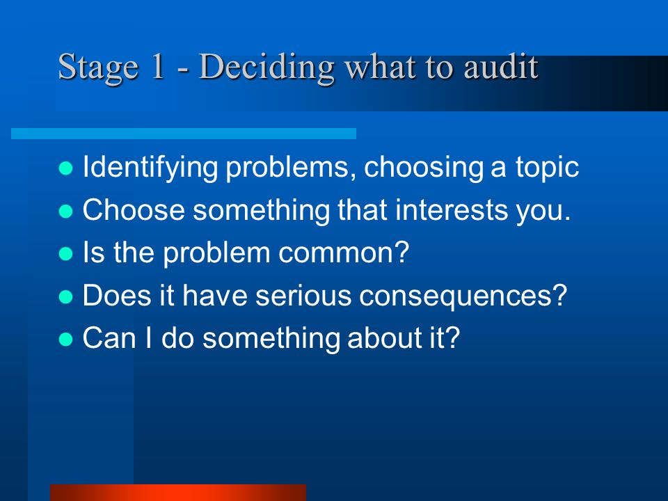 Stage 1 - Deciding what to audit