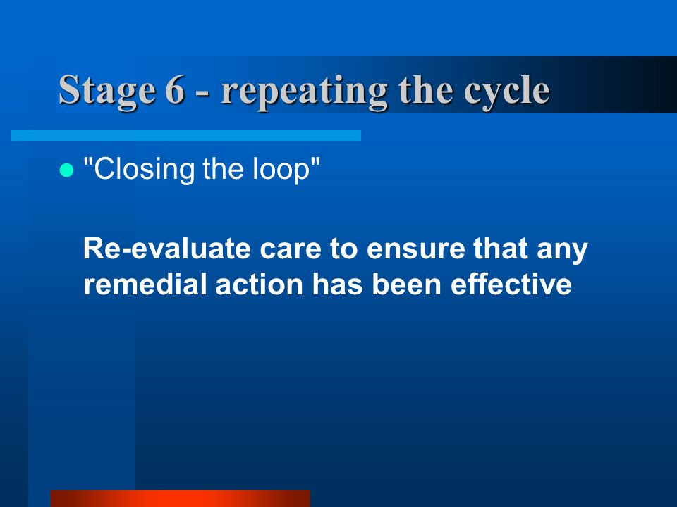 Stage 6 - repeating the cycle