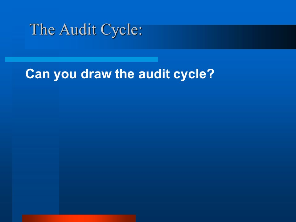 The Audit Cycle: Can you draw the audit cycle