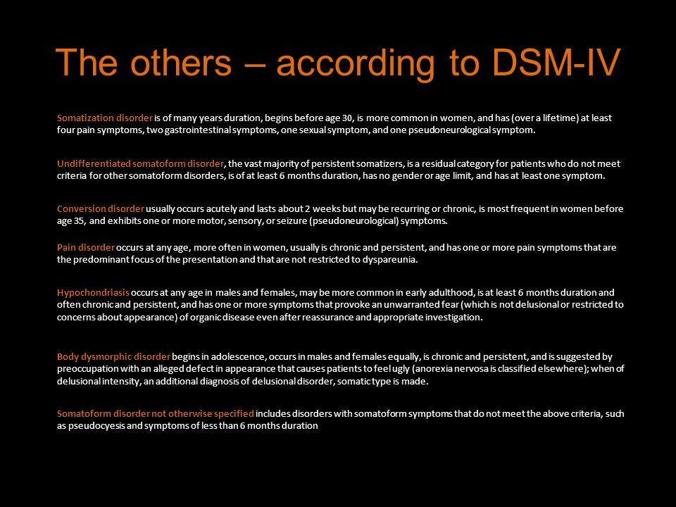 The others – according to DSM-IV