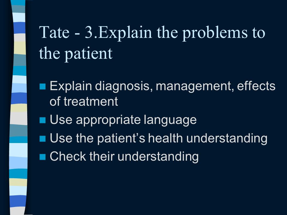 Tate - 3.Explain the problems to the patient