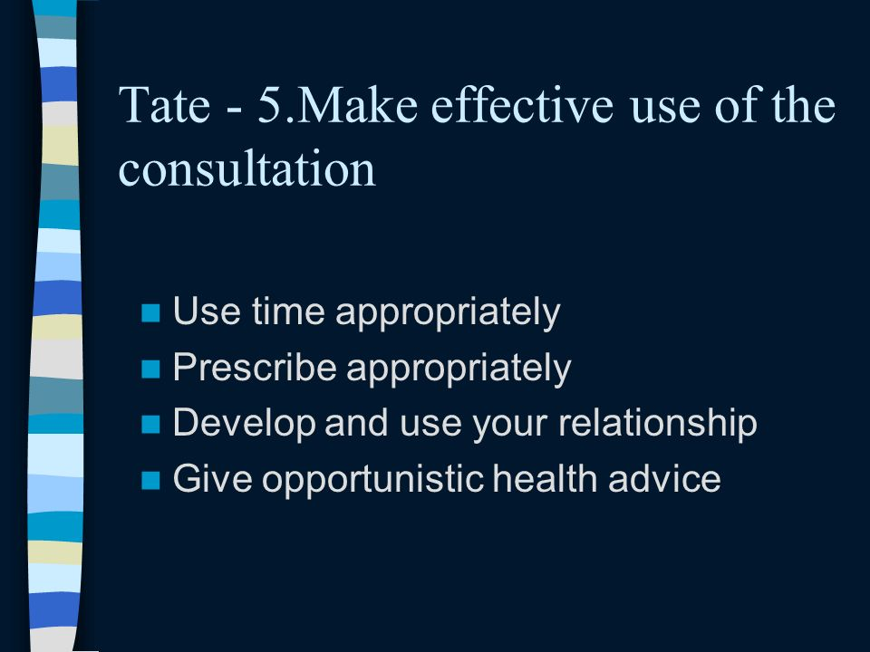 Tate - 5.Make effective use of the consultation