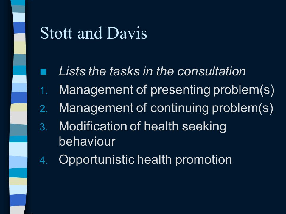 Stott and Davis Lists the tasks in the consultation