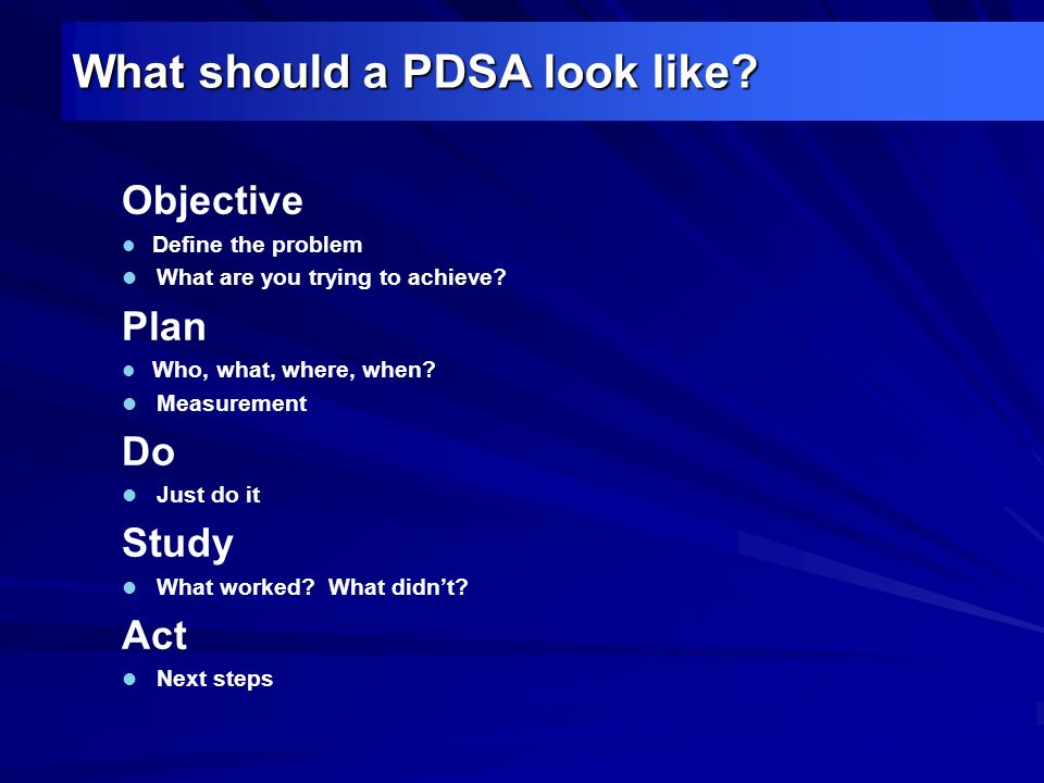 What should a PDSA look like