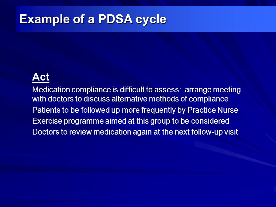 Example of a PDSA cycle Act